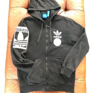 Adidas Hoodie Trefoil Full Zip Black White Mens M